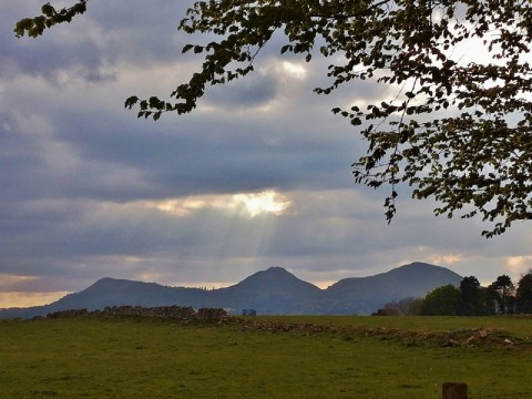 Eildon Hills & ruined abbey tranquility